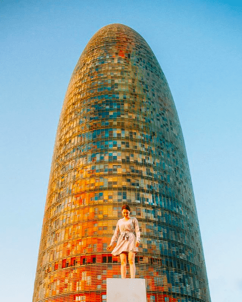 Naomi Bowler at the Torre Glories in Barcelona, Spain