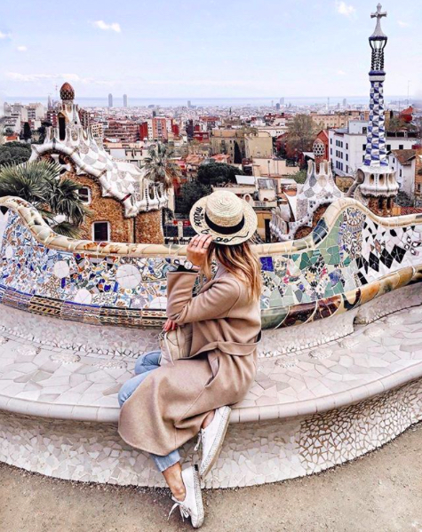 Polina at park Guell in Barcelona, Spain