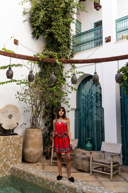 Michele of The Fashion Fraction at Ryad Dior in Marrakech, Morocco